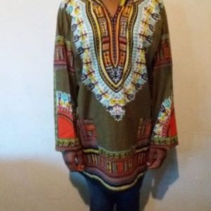 Men's African Print Dashiki T-Shirt Short Sleeve With Hood