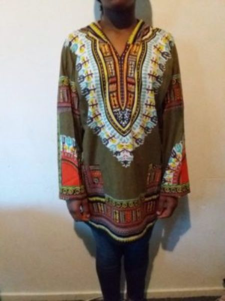 Men's African Print Dashiki T-Shirt Short Sleeve With Hood