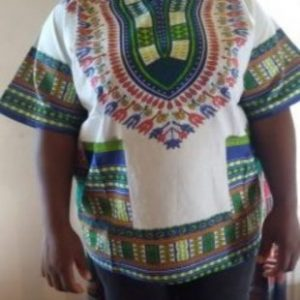 Dashiki shirt white green