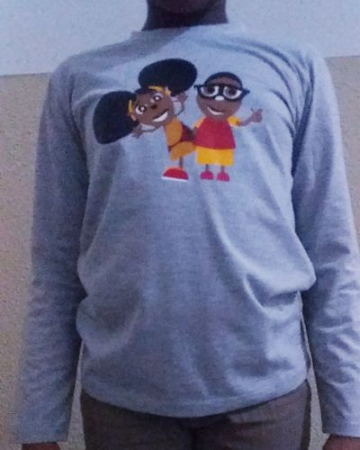 Kinders t-shirt gray With 2 happy at the front 100% cotton Size 4 yrs