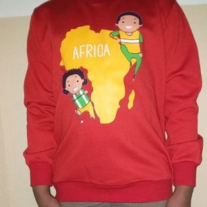 Kinders Sweatshirt Red With African map decoration at the front Size 4 yrs