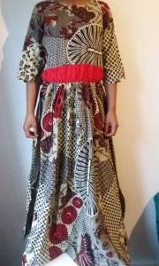 Nice African Ankara Maxi dress size XXL with elastic band Bruin color For All season and All occassion