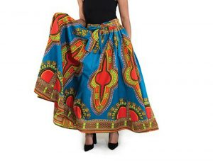 Women African Print Maxi Dashiki Blue Skirt