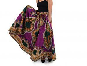 Women African Print Dashiki Purple Skirt