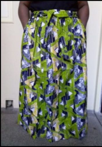 Nicely Women African Print Dashiki Ankara Green Skirt With Elastic Band And Rope