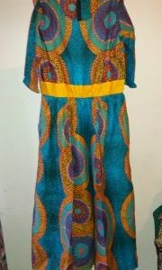 Nice African Ankara Maxi dress size XXL with elastic band Blue color For All season and All occassion