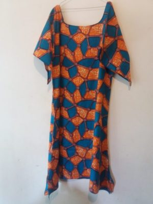 Maxi long Ankara dress wide round neck and half sleeve lenght one size fit till XXL