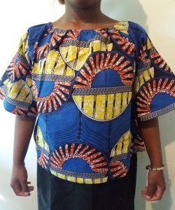Nice African Ankara blouse size M Blue color For All season and All occassion