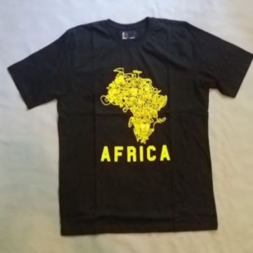 Black T-shirt with Golden African map