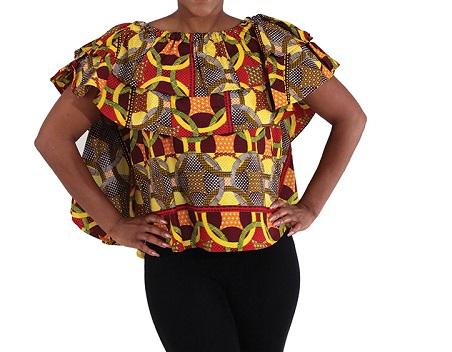 Ankara Blouse Top Free style Size S-L