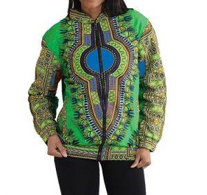 Bomber Dashiki jacket green blue Size XL