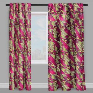 2 pieces of window curtains made of african fabric