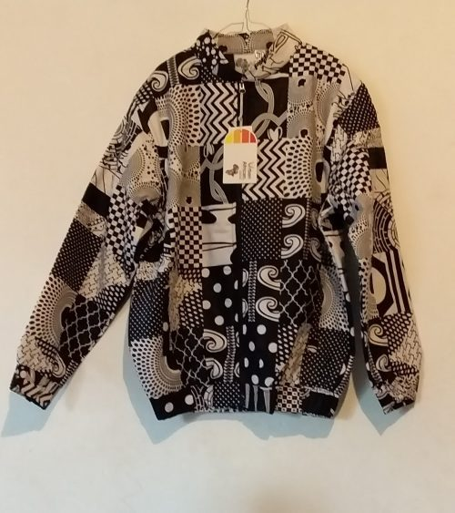 African bomber jacket pathtwork black and white