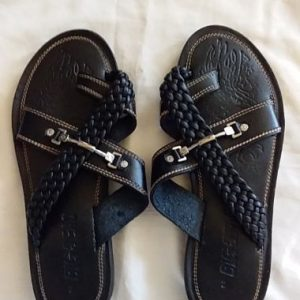 Men's Leather Slippers Size 43 Black
