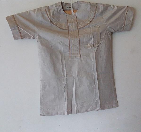 African Traditional shirt for Men Melk Color  Size XL