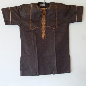 African Traditional shirt for Men Dark Brown Color  Size L