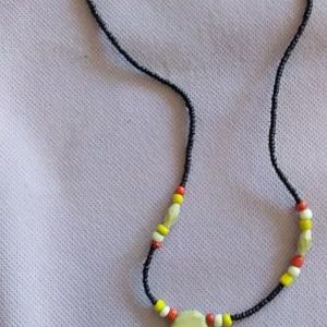Black necklace with White African Map
