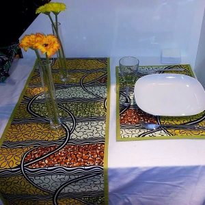 Nice Set of Ankara decoration Set for Dining Room to make your home look sweet. You Get 2 Placemates 30x50cm and 1 table clothe 70x200cm
