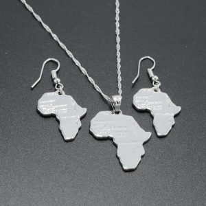 Silver color juwelry set Africa map