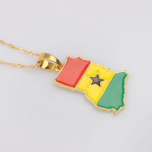 Ghana Map and flag necklace
