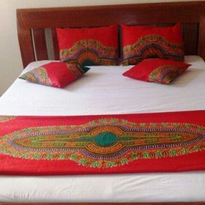 Red dashiki bed runner set
