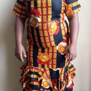 Ankara brown dress