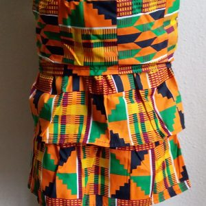 African children kente trap skirt