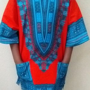 Dashiki traditional kaftan blue red short sleeves