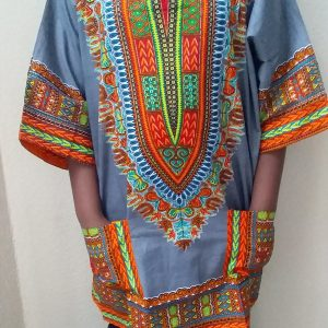 Dashiki t-shirt grey trad