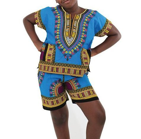 childrens-dashiki-shorts-set-blue