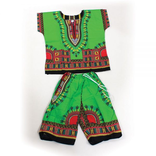 childrens-dashiki-shorts-set-green
