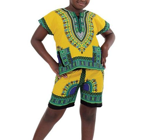 childrens-dashiki-shorts-set-yellow