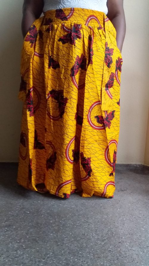 Maxi Long African Ankara Traditional Skirt Free Size 2 Pockets