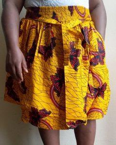 Short yellow ankara gathered skirt