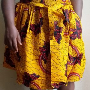 Short yellow ankara gathered skirt