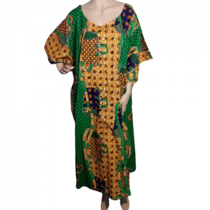 Ankara kaftan dress green