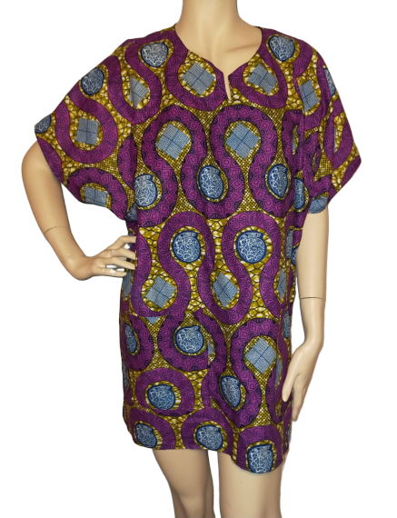 Afrikaanse herenkleding korte mouw Ankara Shirt Uniseks paarse print Hemd