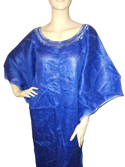 Blue brocade dress1