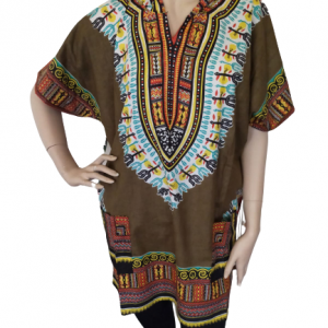 Army-green dashiki shirt