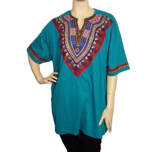 Men's and Women's African Green Dashiki T-Shirt Unisex Short Sleeves