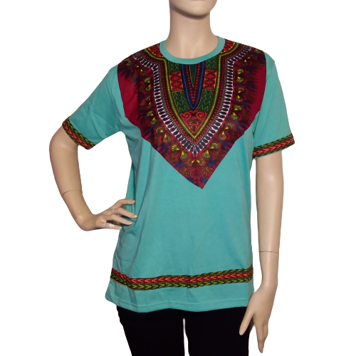 Men's African Dashiki T-Shirt Unisex Light Green Tee Short Sleeves- Native wear