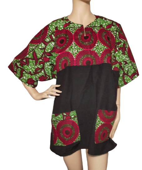 African print and Black shirt