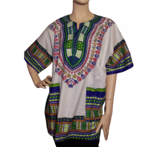 Traditional African Dashiki Cotton Unisex Shirt White Green Color XL